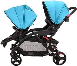 Sillas de paseo Cochecito de bebé gemelo Asiento delantero y trasero Doble Ligero Recién nacidos Alto Paisaje Plegable Puede sentarse Reclinado cochecito de bebé Sillas ligeras (Color : Blue)