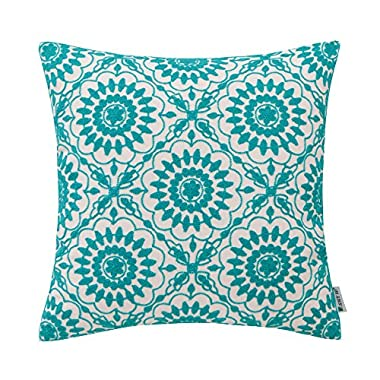 HWY 50 Couch Throw Pillows Covers 18 x 18 inch, 1 Piece Cotton Canvas Home Decorative Embroidered Throw Pillows Cases For Sofa/bed Light Blue Little Sunflower Floral Cushion Covers