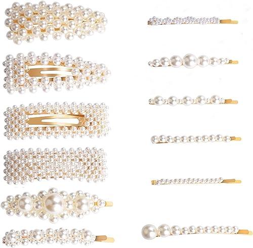Pinces à cheveux perle, Winpok 12 Pcs Cheveux Barrette Artificielle Pince à Cheveux Accessoires pour Filles Femmes po...
