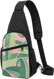 PGTry Tropical Banana Hojas Background Sling Bag Mochila ligera para el hombro, mochila cruzada, bolsas de viaje, senderis...