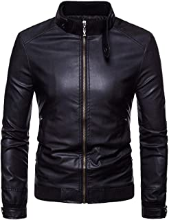 iLXHD 2018 Men's Slim Fit Casual Zip Up Thermal Faux Leather Warm Jackets Coats