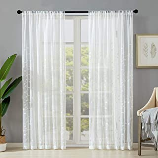MRTREES White Sheer Curtains Leaves Embroidered Curtain Sheers 63 inches Long Living Room Leaf Embroidery Bedroom Rod Pocket Light Filtering Window Treatment Set 2 Panels
