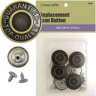 23 mm No-Sew Brass 6 Jean Buttons (F4956)