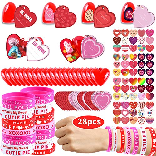 146 Pcs Kids Valentines Party Favors Set Including 30pcs customization Heart Greeting Cards for Kids, Rubber Bracelets Filled Hearts and Heart Stickers for Classroom Exchange Party Favors Game Prizes and Carnivals Gift.