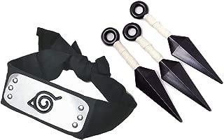 IDOXE Leaf Village Headband with Ninja Props Kunai Plastic Toy Konoha Shinobi Japansese Character Accessory for Anime Cos