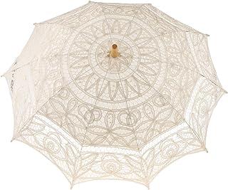 Flameer Romantic Lace Cotton Sun Umbrella Parasol Wedding Bridal Accessories White/Beige - Beige, as described