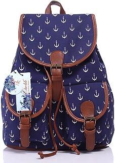 Owbb Weiß Anker Marineblau Leinwand Drucken Damen Mädchen Rucksack Reisetasche/Kinder Twin Tasche Rucksäcke