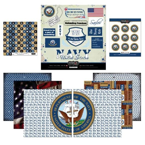 Scrapbook Customs Themed Paper and Stickers Scrapbook Kit, Navy |