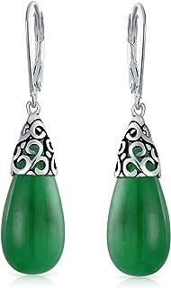 Boho Bali Style Gemstone Long Elongated Teardrop Filigree Leverback Dangle Earrings For Women 925 Sterling Silver More Gem...
