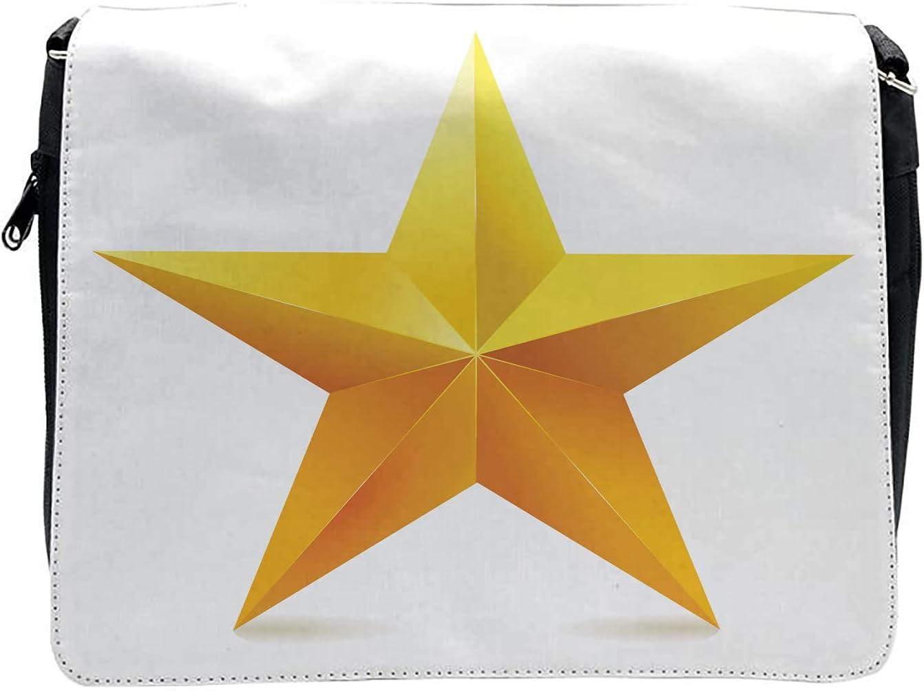Ambesonne Yellow Cross Body Messenger Bag, Single Yellow Ombre Star, Unisex