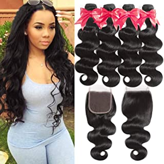 Flady Brazilian Body Wave Human Hair 4 Bundles with Closure 100% Unprocessed Virgin Brazilian Hair 4 Bundles with 4x4 Free Part Closure (16 18 20 22+14)