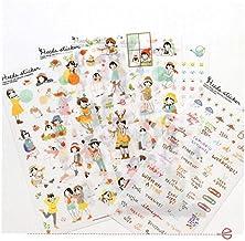AYRSJCL 6 Feuilles coréenne Lovely Girls Stickers Scrapbooking Journal Enfants DIY Scrapbooking Matériel Papeterie Produit...