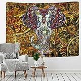 PPOU Tapiz de Elefante de Perlas de Colores Estilo de Mosaico 3D Hippie Boho Tapices de Pared Mandala Alfombra de Tela Decoración de Sala de Estar A21 130x150cm