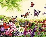 Fuumuui Lienzo de Bricolaje Regalo de Pintura al óleo para Adultos niños Pintura por número Kits Decoraciones para el hogar-Mariposa y Flores 16 * 20 Pulgadas
