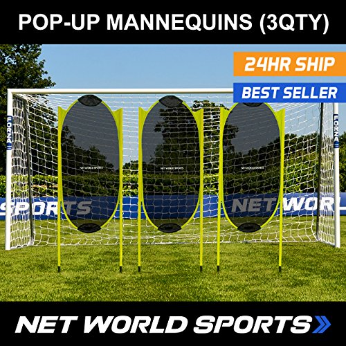 Spring Back Soccer Free-Kick Mannequins [3 Pack] - Professional Style Soccer Practice Dummies [Net World Sports]