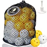 CAITON 50 Pack Plastic Golf Balls, Practice Golf Balls Perforated Training Golf Balls for Home Putting Practice Backyards Swing Practice, Driving Range, Adjustable Rubber Tee