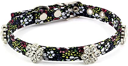 PetFavorites Rhinestone Dog Collar, Designer Crystal Dog Birthday Jewelry, Cute Flower Cat Collar with Bling for Pets Kitten Small Dogs Girl, Teacup Puppy Yorkie Chihuahua Clothes Costume Accessory
