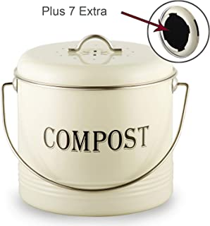 Compost Bin 1.3 Gal With 7 BONUS Charcoal Filters for Kitchen Countertop - Vintage Indoor Scraps Compost Bucket With Lid-Flies/Odor Proof Compost Container Kitchen Pail, Recycling Caddy, Beige