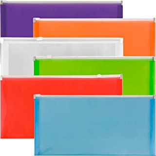 JAM PAPER Plastic Envelopes with Zip Closure - #10 Booklet Wallet - 5 x 10 - Assorted Colors - 6/Pack