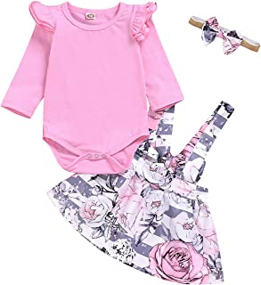 Kids Toddler Baby Girls Fall Skirt Set Outfit Floral Leopard Ruffle Sleeve Romper Bodysuit+Strap Skirt Dresses Clothes