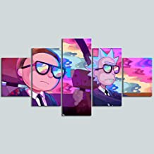Artwcm Comic Rick Morty 5PCS Oil Paintings Modern Canvas Prints Artwork Printed on Canvas Wall Art for Home Office Decorations-239 (Unframed)
