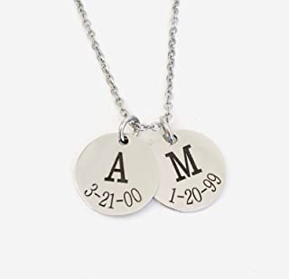 Initial and Date Mothers Necklace Personalized