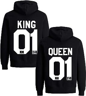 88aaf28ef36a5e Pärchen Hoodie Set King Queen Pullover für Zwei Kapuzenpullover für Paare  Paar Valentinstag Partner Geschenke Partnerlook