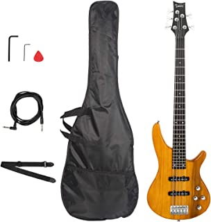 $224 » N&P Glarry GIB Right Handed Electric 5 String Bass Guitar Full Size Bag Strap Pick Connector Wrench Tool Transparent Yellow
