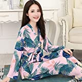 Sexy Dames Pyjama,Comfortabele Sexy Pjs Tweedelige Nachtkleding Zachte Set Vest V-Hals Frisse Kimono Japanse Stijl Bladerenprint Roze Nachtjurk, Thuisservice-Pak Cadeau Voor Dame Huwelijksreis