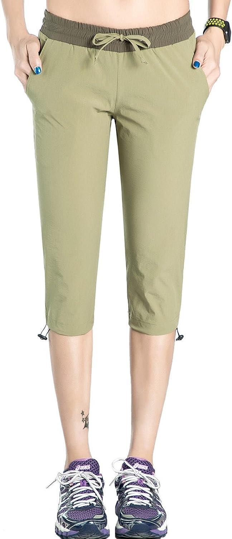 Hopgo Women's Quick Dry Cargo Crop Pants Lightweight Drawstring Outdoor Capri Pants