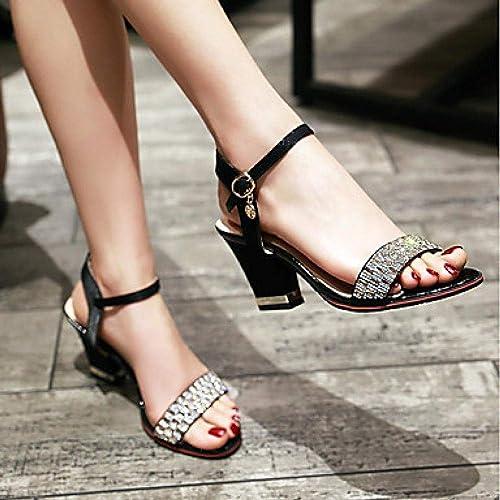 Sandales à Talon carré pour Femmes, Talon épais, Bout Ouvert, Bride en Soie et Cristal, Bride à la Cheville, été@Beige_US8.5   EU39   UK6.5   CN40