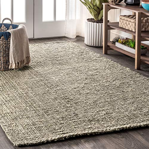 JONATHAN Y Pata Hand Woven Chunky Jute Gray 4 ft. x 6 ft. Area Rug, Bohemian, Easy Cleaning, For Bedroom, Kitchen, Living Room, Non Shedding