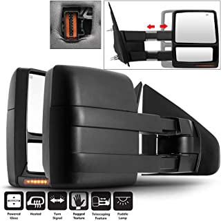 Acanii - Power Heat LED Signal Puddle Lamp Telescoping Towing Mirrors Left+Right For 2007-2014 Ford F150 F-150 07-14