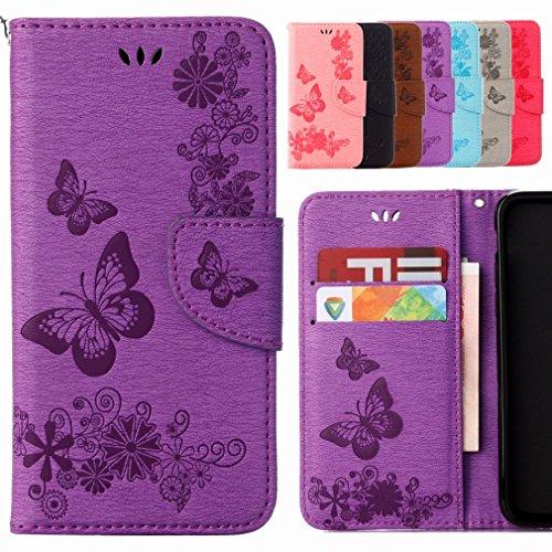 Yiizy Handyhülle für Sony Xperia X Compact Hülle, Schmetterling Blume Entwurf PU Ledertasche Beutel Tasche Leder Haut Schale Skin Schutzhülle Cover Stehen Kartenhalter Stil Schutz (Lila)