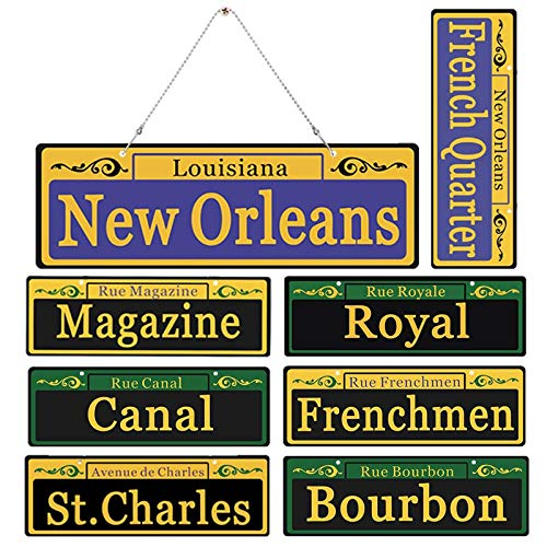 2020 Mardi Gras Decorations New Orleans Street Signs 8 Pack Ornaments - 1:1 Size Duplex Printed PVC Made Mardi Gras Party Table Decor, with Extra Metal Chain for Outdoor Carnival Hanging