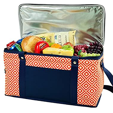 Picnic at Ascot Ultimate Day Cooler- Combines Best Qualities of Hard & Soft Collapsible Coolers - Diamond Orange