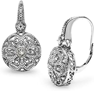 Sterling Silver Round Filigree Diamond Accent Leverback Drop Earrings, IJ-I3
