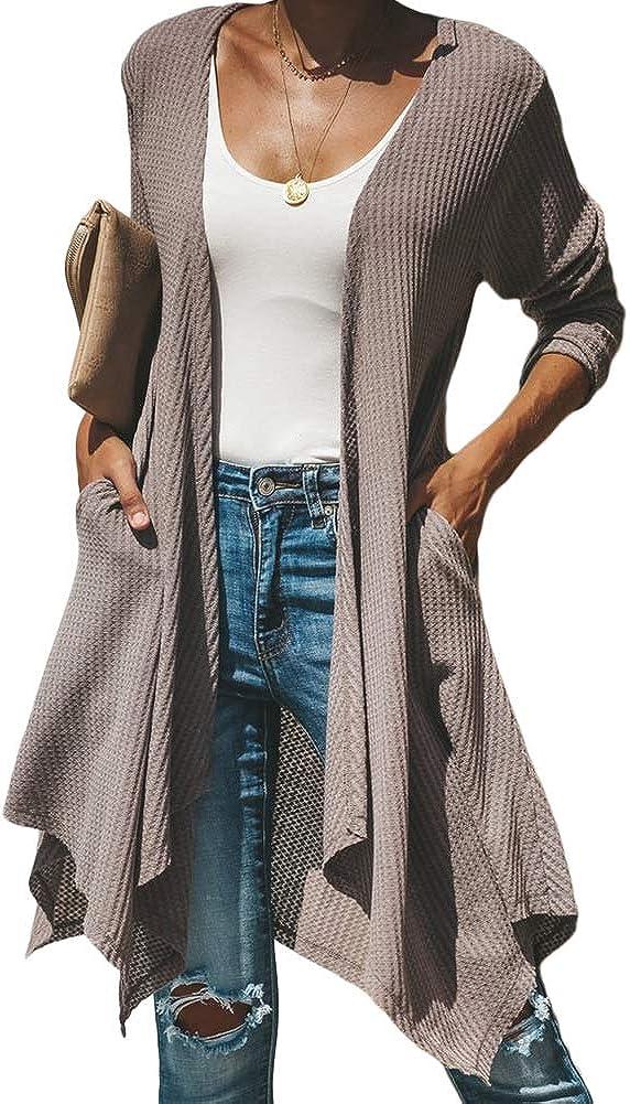 Womens Long Maxi Open Front Knit Cardigan Long Sleeve Sweater Outwear Asymmetrical Hem with Pocket