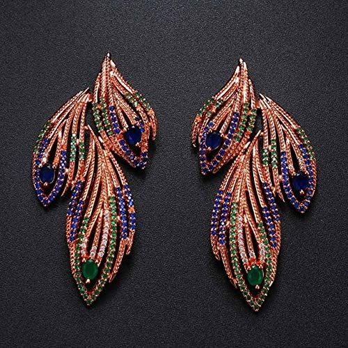 Pendientes de fiesta de mujer Pendientes de plumas de animales vintage para mujer Pendientes colgantes negros azules Regalo de San Valentín