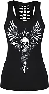 FISACE Women's Skull Print Hollow Out T-Shirt Crew Neck Sleeveless Plus Size Tank Top
