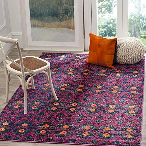 Safavieh Gewaschener Teppich zeitgenössisches Muster, MNC213, Gewebter Polypropylen, Rosa / Mehrfarbig, 120 x 180 cm