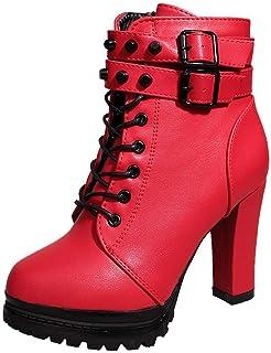 Logobeing Zapatos de Tacón Alto Botas Mujer Invierno Martain Boot Zapatos con Cordones de Cuero Botines Mujer Tacon Plataf...