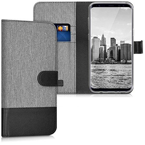 kwmobile Funda para Samsung Galaxy S8 Plus - Carcasa de Tela y Cuero sintético - con Tapa y Tarjetero Gris/Negro