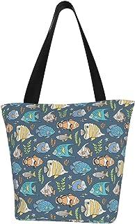 Lesif Einkaufstaschen, tropische Fische auf dunkelblauem Segeltuch, Schultertasche, Einkaufstasche, wiederverwendbar, faltbar, Reisetasche, groß und langlebig, robuste Einkaufstaschen