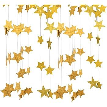 Festa di Natale Compleanno 184 Piedi Carta Stella Ghirlanda Glitter Stelle Bandiera Banner 14 Pezzi Scintillio Luccichio Stella Ghirlanda Decorazione Appesa per Matrimonio Vacanza