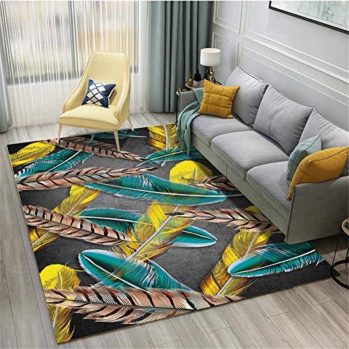 Kunsen alfombras a Medida Online Decoracion Comedor Patrón de Plumas de Alfombra Azul Dorado marrón para Sala de Estar Moderna-PS_Los 40X60CM Decoracion de Salones 40X60CM 1ft 3.7' X1ft 11.6'
