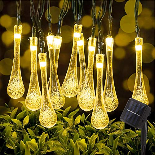 Fulighture Solar Lichterkette,9.8 Meter Wassertropfenform Lichterketten mit 50er LED,8 Modi IP44 Wasserdicht Außerlichterkette für Garten,Bäume,Weihnachten,Partys Deko,Warmweiß