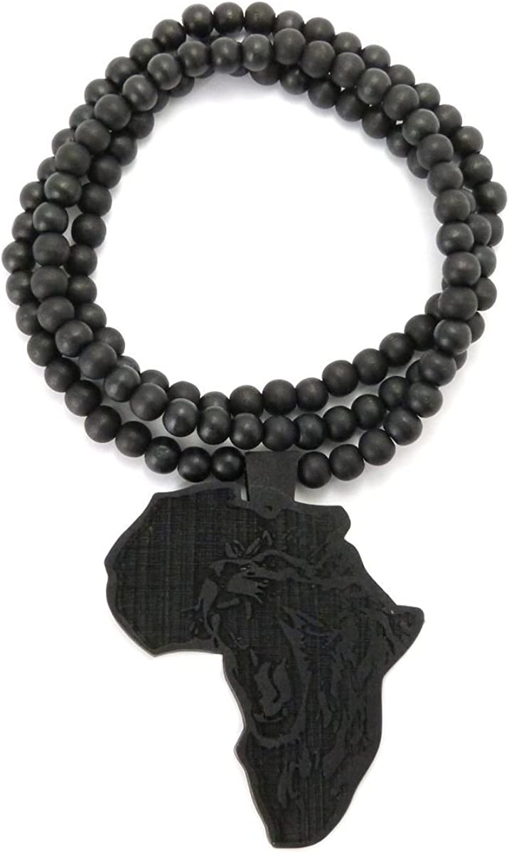 Mens NecklaceEbony Wood Beads Necklace with Africa Pendant