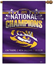 """NCAA LSU Tigers 2019 Men's College Football National Champions House Flag, Team Colors, 28"""" X 40"""" (51131)"""