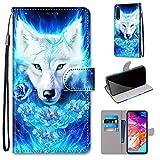 Miagon Flip PU Leder Schutzhülle für Samsung Galaxy A70,Bunt Muster Hülle Brieftasche Case Cover Ständer mit Kartenfächer Trageschlaufe,Rose Wolf -